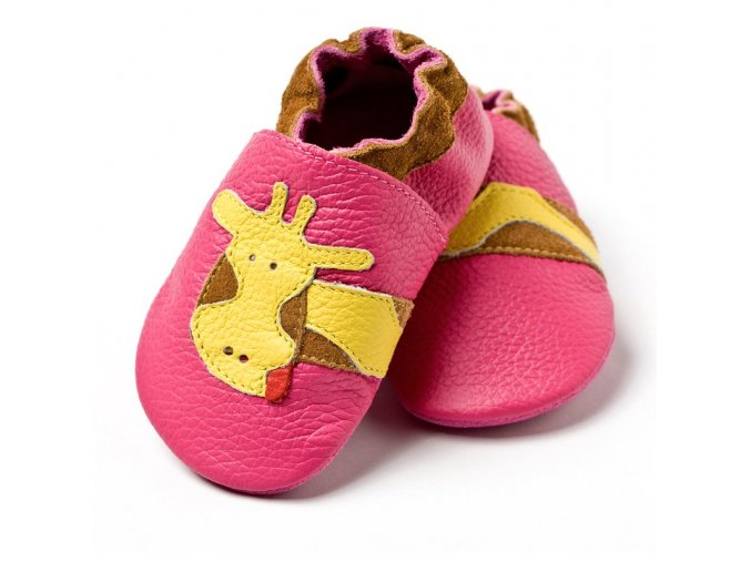 3111 liliputi soft baby shoes fuchsia giraffe 2101