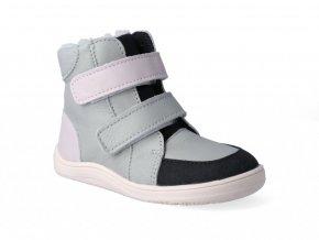 Barefoot zimná obuv s membránou Baby Bare - Febo Winter Grey-Pink Asfaltico