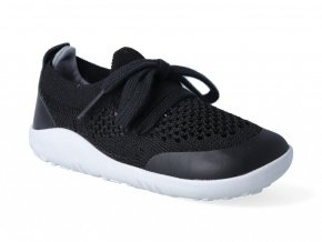 Barefoot capačky Bobux - Play Knit Black + Charcoal Step-Up