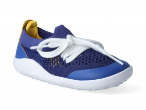 Barefoot capačky Bobux - Play Knit Blueberry + Yellow Step-Up