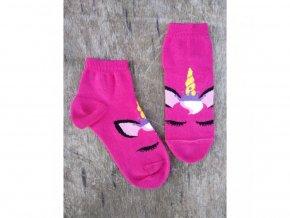 Detské bavlnené ponožky Trepon - Jednorožec tmavo ružový