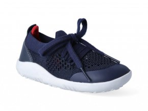 Barefoot capačky Bobux - Play Knit Navy + Red