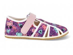 Barefoot papučky Jonap - Home Srdce fialové
