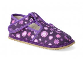 barefoot prezuvky beda uzky typ fialove kvitky 2
