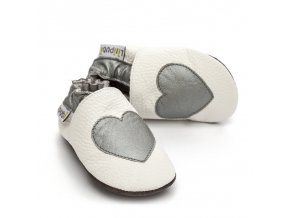 liliputi soft baby shoes silver love 2792