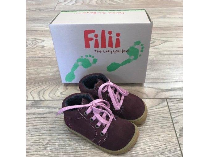 GECKO velours fleece berry laces W, Filii barefoot