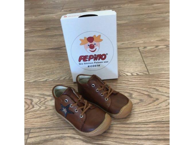 Celoroční kožené boty Romy cognac M - tkanička, Ricosta Pepino