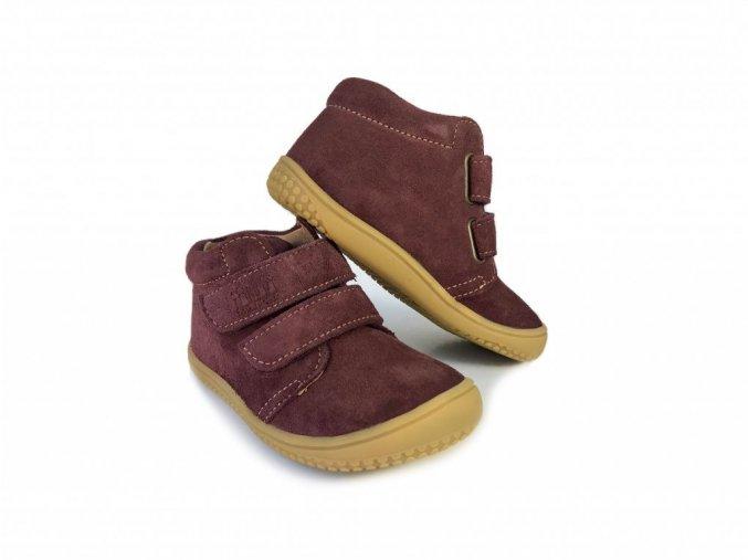 CHAMELEON velours berry velcro W, Filii barefoot