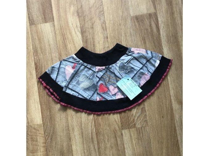 Dětská sukně 0-2 roky - srdce, Petra Kalistia Lammas