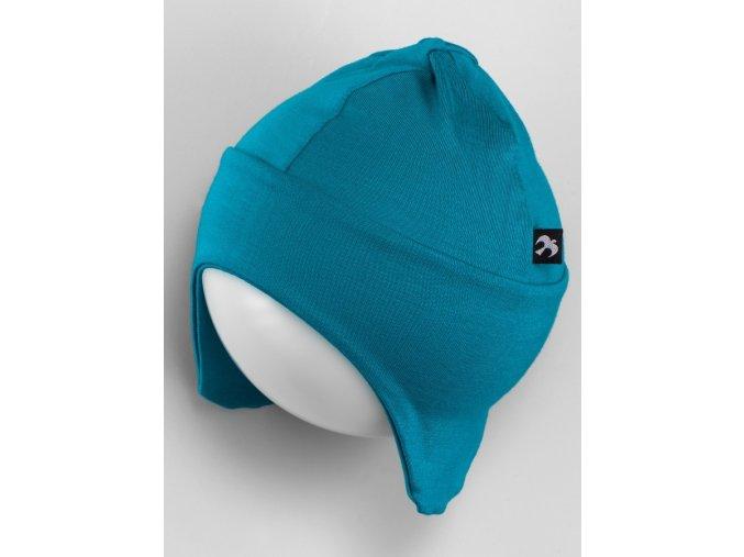 Čepice s krytím na uši - smaragdová, Duomamas