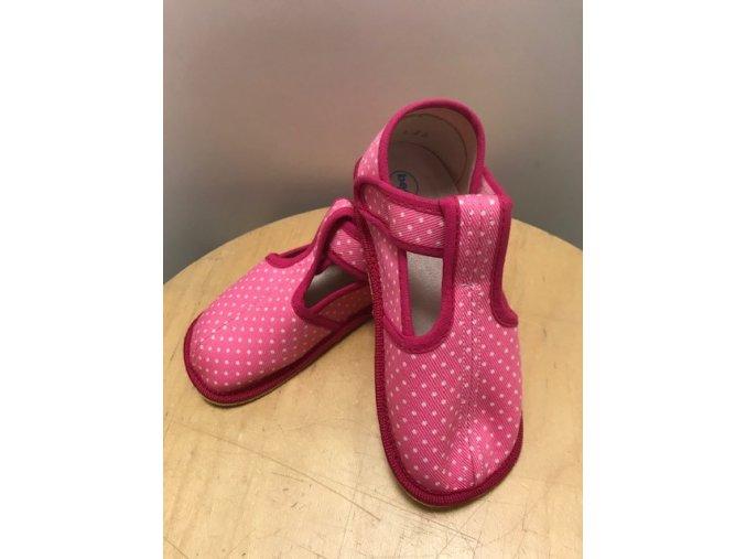 Bačkůrky zúžené (SLIM) - růžový puntík, Boty Beda