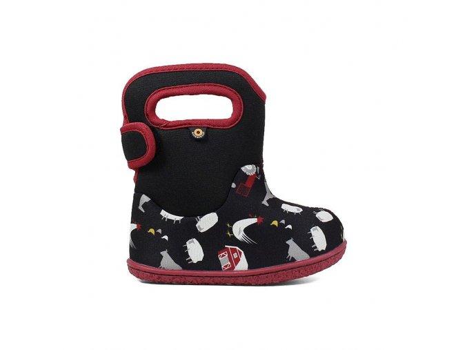 Zimní boty Baby Bogs classic Farm - Black multi, Bogs