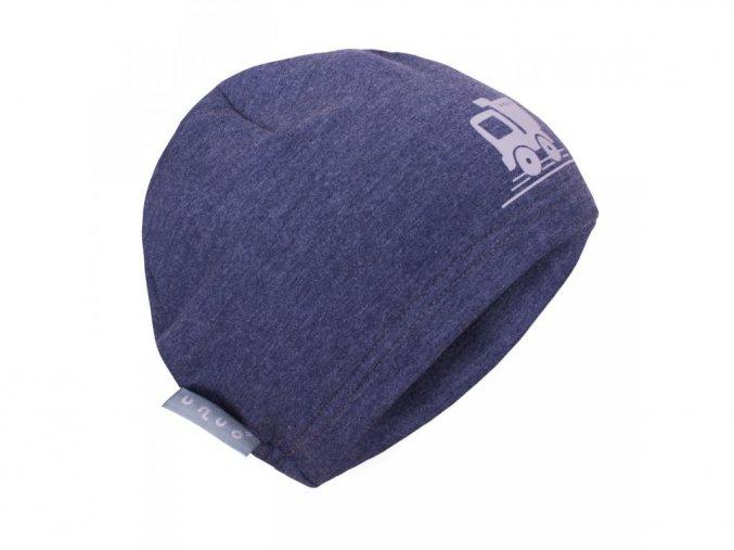 Teplákovinová čepice - Jeans modrý melír + reflexní autíčko, Unuo