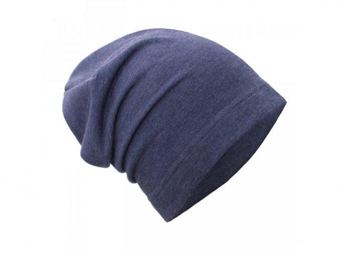 Teplákovinová čepice spadená - Jeans melír, Unuo