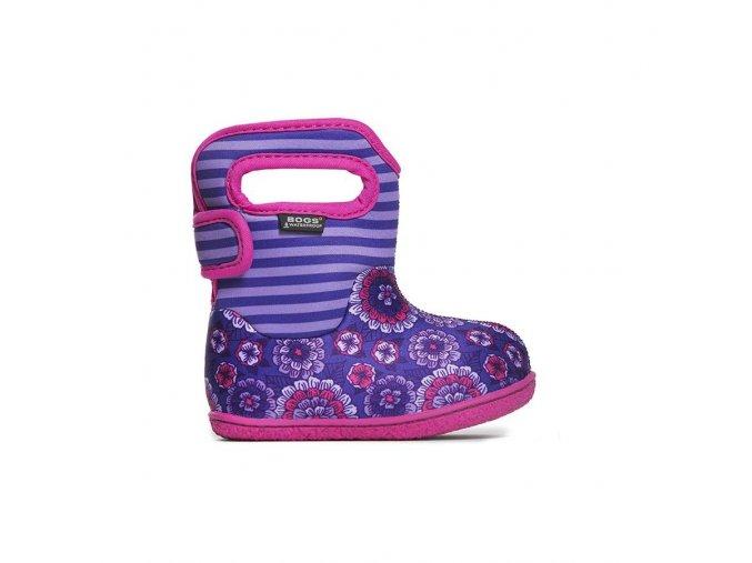 Zimní boty Baby Bogs classic Pansy Stripe - Violet multi, Bogs