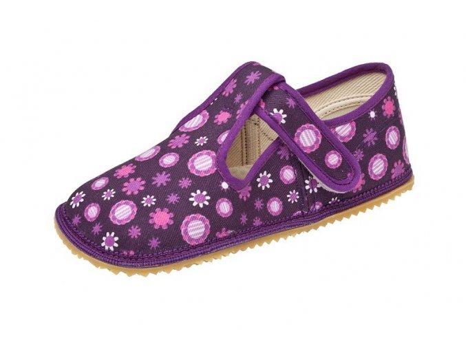 Bačkůrky - fialová kytky, Boty Beda