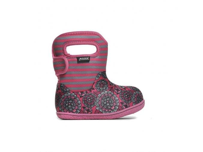 Zimní boty Baby Bogs classic Pansy Stripe - Pink multi, Bogs