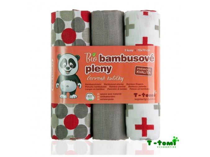 BIO Bambusové pleny 70x70cm - červené kuličky, T-Tomi