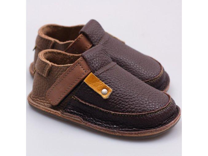 Kožené barefoot boty Coffee - podrážka 3 mm, Tikki shoes