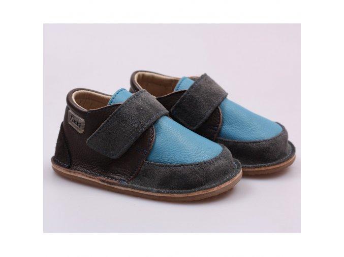 Kožené barefoot boty Happy blue - podrážka 4 mm, Tikki shoes