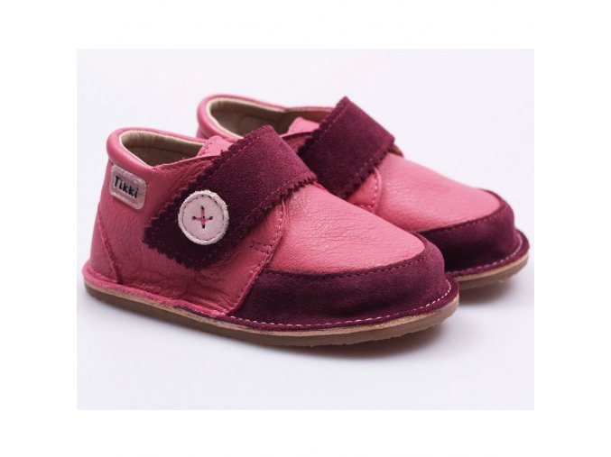 Kožené barefoot boty Cherry buttons - podrážka 4 mm, Tikki shoes