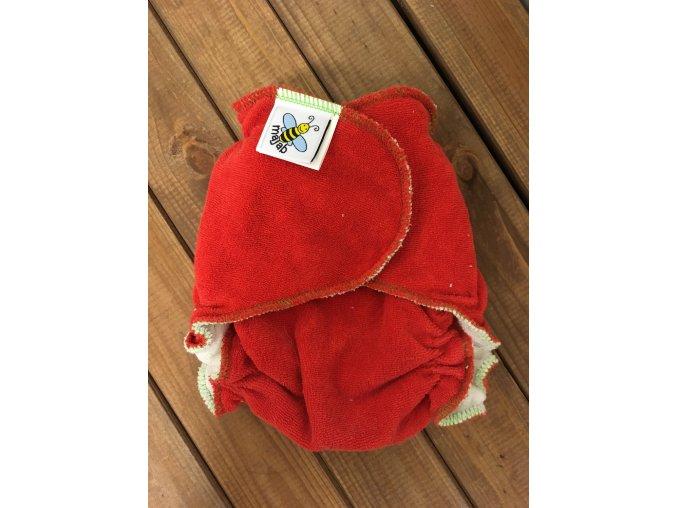 Kalhotková plenka na snappi sponku - červená, Majab