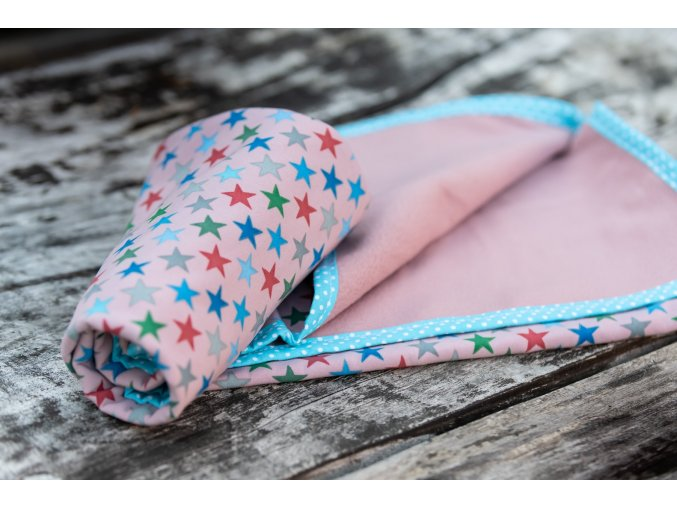 Přebalovací podložka větší 70x70 cm - hvězdičky na růžové, Katka Černá