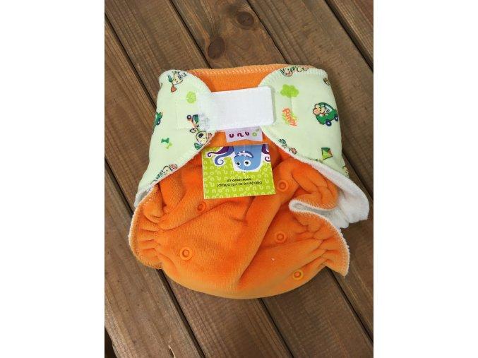Kalhotková plena na suchý zip - Pejsci na dopravním hřišti zelené s oranžovou, Unuo
