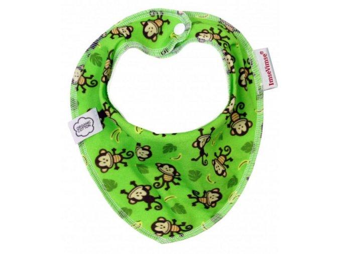 Biobavlněný šátek/slintáček - opičky zelené, Imse Vimse