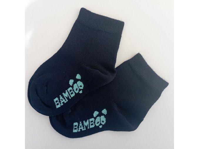 kojenecke bambusove ponozky bobik tmave modra trepon