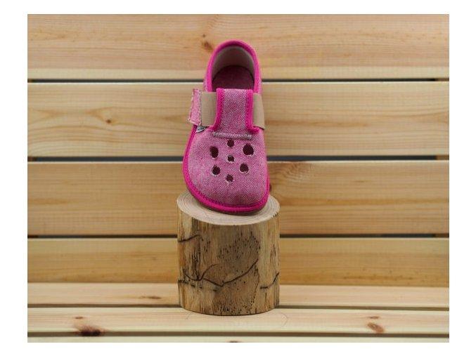 Barefoot Pegres papučky BF03 s průřezem - růžová, Pegres