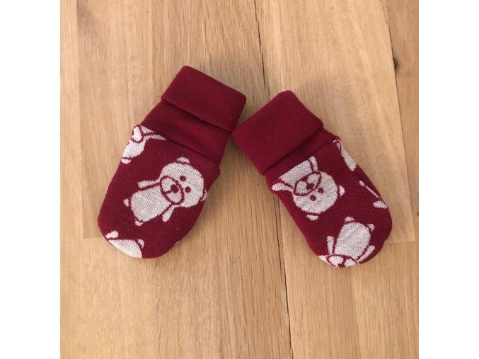 Merino pěstičky/rukavice dvojvrstvé oboustranné - medvídci na bordové, Crawler