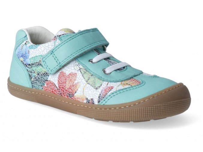 Barefoot tenisky - Bernardinho laces aqua flower, KOEL4kids