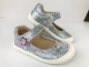 Balerínky ELSA velcro silver glitter, Filii barefoot