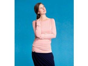 Bambusové kojící tričko s dlouhými rukávy - růžová, Adelay