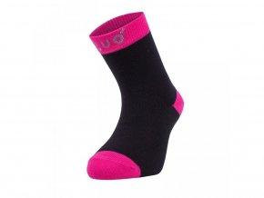 Bambusové ponožky - černé s fuchsiovou, Unuo