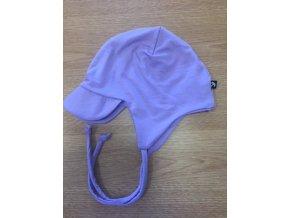 Bambusová čepice s kšiltem na zavazování - fialová, Duomamas