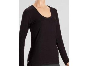 Bambusové tričko s dlouhým rukávem- černá, Duomamas