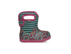 Zimní boty Baby Bogs classic Pansy Stripe - Emerald multi, Bogs