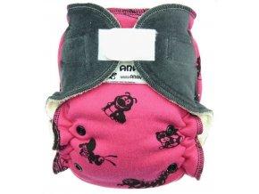 Kalhotková plena - suchý zip - Hmyzáci (růžová)/Myší kožíšek, Anavy