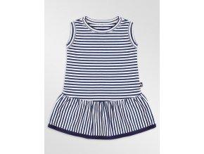 Bambusové šaty - modrobílý proužek, modrý lem, Duomamas