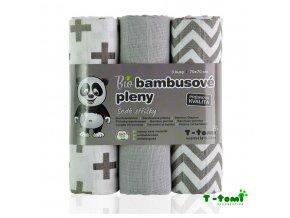 BIO Bambusové pleny 70x70cm - šedé stříšky, T-Tomi