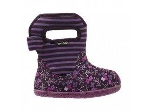 Zimní boty Baby Bogs classic Flower Stripe - Plum, Bogs