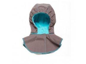 Dětská kapucka se šálou - grey-turquoise, Liliputi