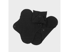 Biobavlněné slipové vložky Flanel - černá (sada 3 ks), Imse Vimse