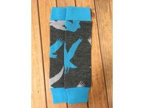 Merino návleky do šátků a nosítek - Dvojbarevní orli na grafitové/tyrkysová, Crawler