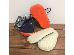 Zimní kožené boty s kožíškem a membránou na tkaničku - Blue Mandarine, Boty Beda