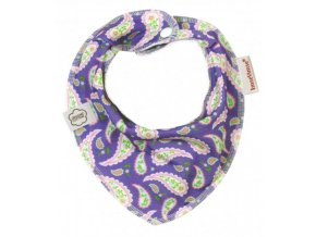 Biobavlněný šátek/slintáček - paisley fialová, Imse Vimse