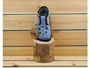 Barefoot Pegres papučky BF03 s průřezem - modrá, Pegres