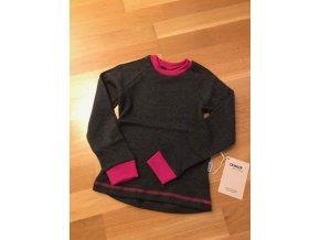 Merino tričko dlouhý rukáv - Grafitová/Růžová, Crawler